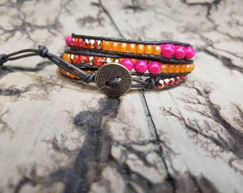 3x Pink Orange And Red Adjustable leather wrap