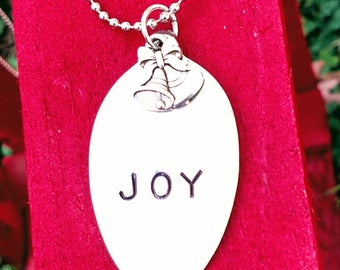 Vintage hand stamped silver plated spoon Necklace joy