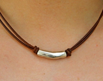 Women leather necklace,leather necklace,beaded necklace,leather cord necklace silver plated,CI001