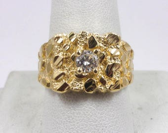 Solid 14K Yellow Gold 0.37 Carat Heavy Diamond Nugget Ring 12.5 grams, Size 10