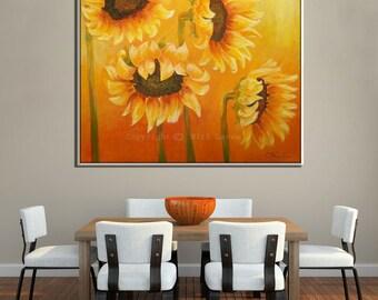 Contemporary Landscape Print, Flower Wall Art Canvas, Sunflower Art, Sunflower Wall Art, Contemporary Art Flower Wall Decor, Wall Art