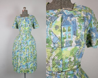 1950's Blue and Green Building and House Novelty Print Day Dress / Size Large