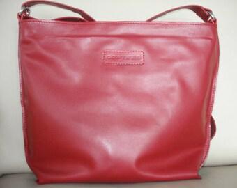 Leather Bag  Red Color, zippered , Leather bag, Large, CarryAll, Shoulder Bag, Shopping Bag, Cross body bag