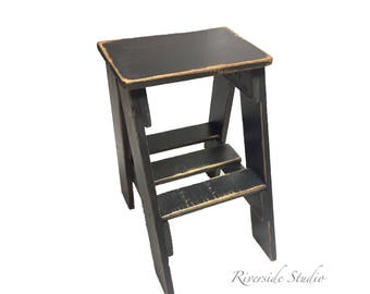 Step Stool *Pick Your Colour* Rustic Shabby Chic Furniture  /  Bedroom Side Table / Cottage Farmhouse Rustic Step Ladder