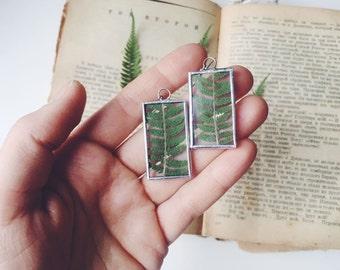 Forest earrings, Green fern plant, Fern earrings, Botanical Herbarium Flower Natural History, Christmas gift for her, Fern leaf jewelry