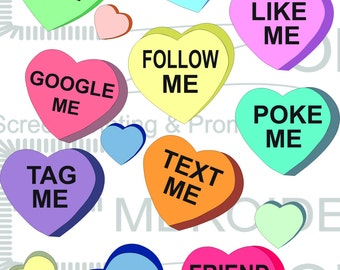 Candy Conversation Hearts, Valentine Hearts Graphic, Valentines Day Hearts svg, Candy Hearts Cutting File, Hearts Cuttable, scrapbooking