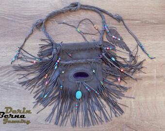 Medicine leather bag ,Fringe leather Medicine pouch bag,Native american bag,Healling stones fringe leather pouch bag sack,Totem spirit bag