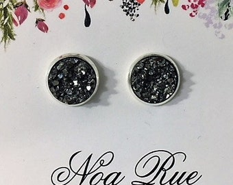 Silver Bullet Druzy 10mm Stud Earrings