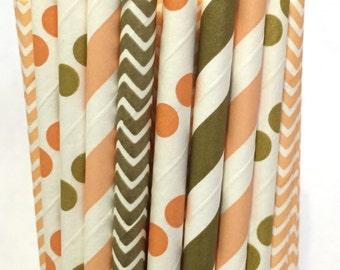 2.85 US Shipping -Fall Paper Straws - Chevron Stripe - Peach Straws - Cake Pop Sticks - Drinking Straws - Thanksgiving Straws