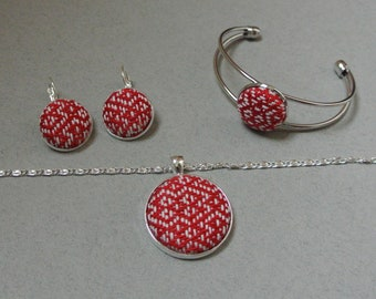 Handwoven Fabric Pendant/ Necklace, bracelet or earrings - Silver tone, red