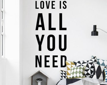 Love is all you need Wall Quote, Large Love Quote Wall Letters Typography Wall Decal WAL-2329
