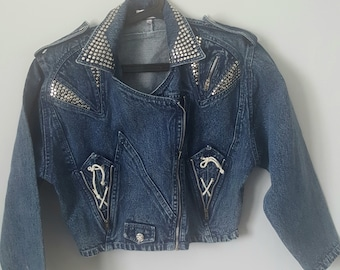 Marble Denim 90s Short Vintage Biker Women Jacket Studded Medium
