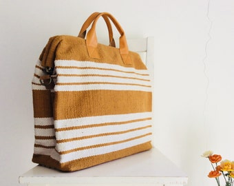Yellow Stripes XL Grain Sack Doctor Handbag / Messenger