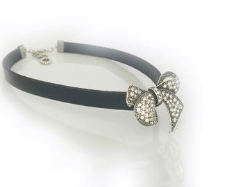 Black Leather Bracelet with Rhinestone Brooch, Bridesmaids Gifts, Gothic Weddings. Outdoors Gifts