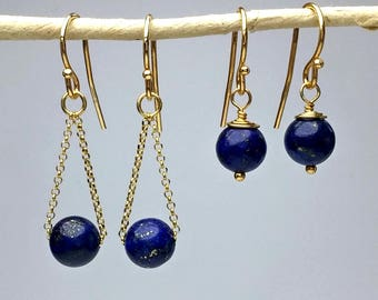 Lapis Lazuli Earrings, Blue Earrings Small or Long, Silver or Gold Drop Earrings Simple Lapis Earrings Lapis Lazuli Jewelry Everyday Jewelry