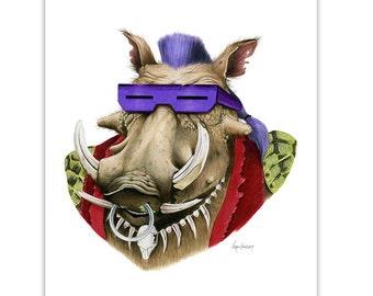 TNMT - Be-Bop Print - Warthog art - Ninja Turtles - Pop Culture Art - Animal Portrait - Limited Edition Print by Ryan Berkley