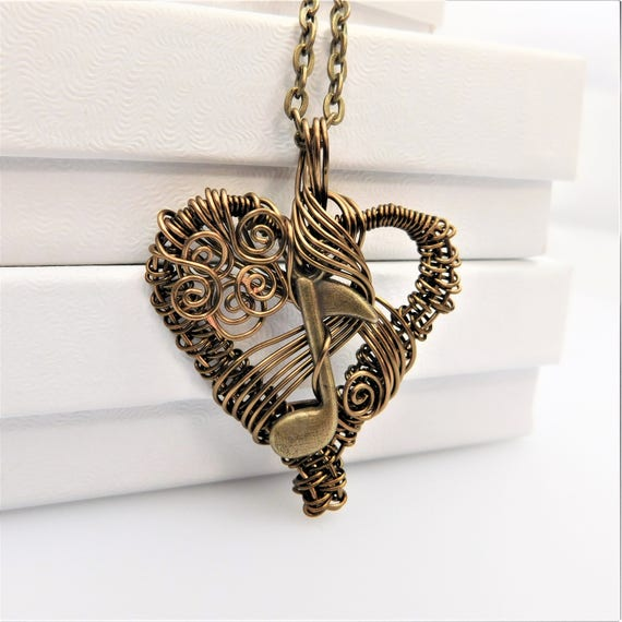 Music Note Necklace Gift for Girlfriend Musician Heart Pendant Artisan Crafted Unique Wire Wrap Artistic Handmade Wearable Art Heart Jewelry