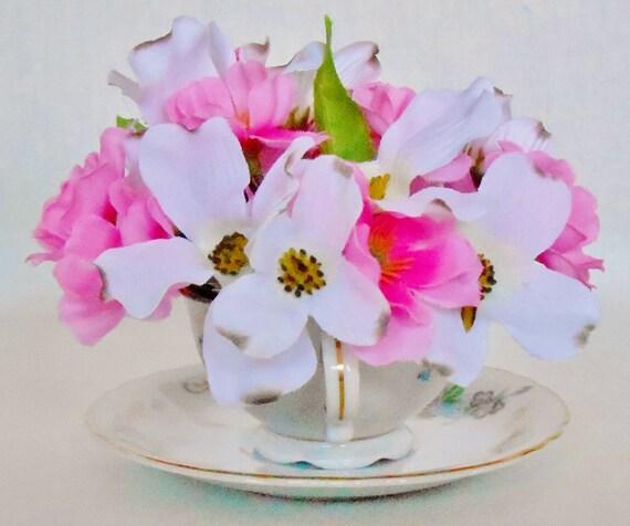 Teacup silk flower arrangement white dogwood pink cherry teacup silk flower arrangement white dogwood pink cherry blossoms vintage sgkina teacup saucer silk floral home decor decor mightylinksfo Image collections