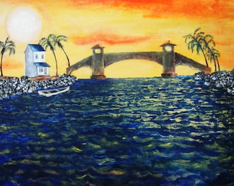 Original art, ocean bridge, acrylic on canvas, 16x20, inspired by Seabridge, Oxnard, California, ocean, sea, palm tree, sun, boat, water
