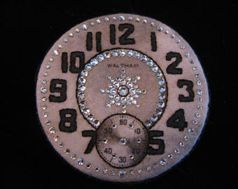 WALTHAM WATCH CLOCK Face Brooch-Swarovski Crystal Sparkle-Hand Embroidered-Magnetic-Wear It on Everything!