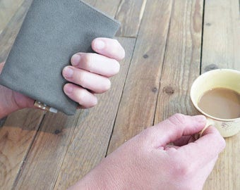 grey wallet, vegan wallet, faux leather wallet, small wallet, slim wallet, cool wallets, thin wallet, cute wallets by Badimyon
