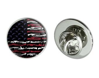 "American gun flag usa second 2nd amendment metal 0.75"" lapel hat pin tie tack pinback"