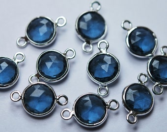 925 Sterling Silver,London Blue Quartz Faceted Coins Shape Connector,10 Piece of 15mm approx