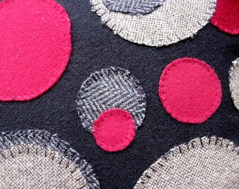 Wool Throw Pillow in Black and Red-Penny Rug Variation