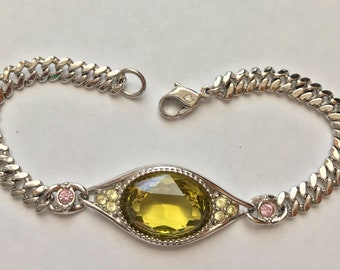 RETIRED Peridot Green Swarovski Signed Crystal Bracelet