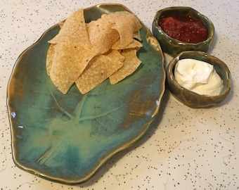 Leaf print platter