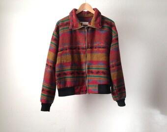 90s SOUTHWEST ikat soft oversize jacket coat pendleton style coat