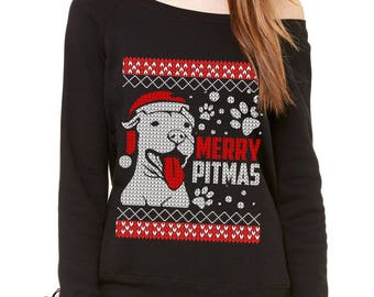 Merry Pitmas Pitbull Ugly Christmas Holiday Slouchy Off Shoulder Oversized Sweatshirt