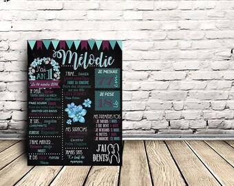 Chalkboard - Print personalized 1st birthday - flowers