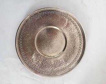 Elegant Pierced Silver Plate Hand Hammered Serving Plate ,Cottage Living,Wedding,Holidays