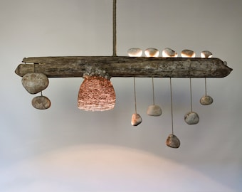 Driftwood Lamp with Quartz Pebble Pendants - Zen Balance - Handmade Rustic Ceiling Light - Wood Chandelier with Rope Lampshade
