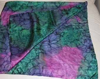 Watered SILK Scarf - Green and Pink -35 x 35""