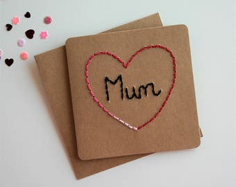 Handmade Card, Mother's Day, Mother's Day Card, Card For Mum, Mother, Mum, Mom, Blank Card, Happy Birthday, Just Because, Hand Sewn Card