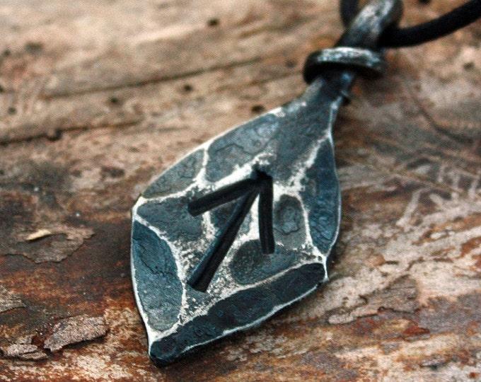 Forged Iron Tiwaz Tyr Tiw Rune Viking Amulet Runic Nordic Pendant Talisman Necklace