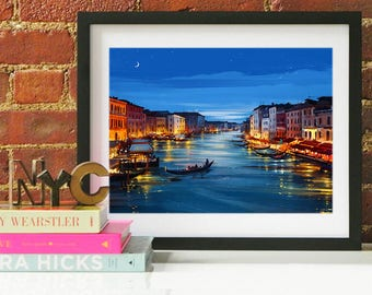 Venice Italy Grand Canal Art, Venice Watercolor Skyline, Venice Skyline, Venice Art, Venice Poster, Venice Print, Venice Art, Venice Map