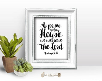 Bible Verse Printable Wall Art As For Me and My House Joshua Scripture Home Decor Calligraphy Typography Christian Wisdom Digital file