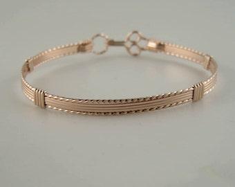 WSB-0186 Handmade 14k Rose Gold Filled Wire Wrapped Bangle Bracelet