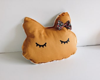 Small pillow cat toy, liberty node moutade yellow minky