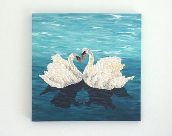Acrylic Painting, Artwork with Seashells, Art Wall Picture of Swans, Swans in Seashell Mosaic, Mosaic Art, 3D Art Collage, Home Decor
