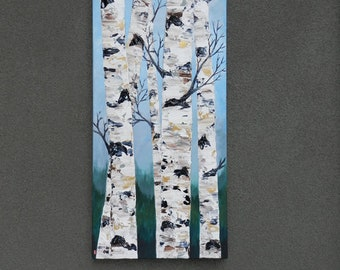Birch tree painting, Birch tree art, Birch tree decal, Birch tree wall decal, Original painting, Forest Painting, Birch tree decor, Birch