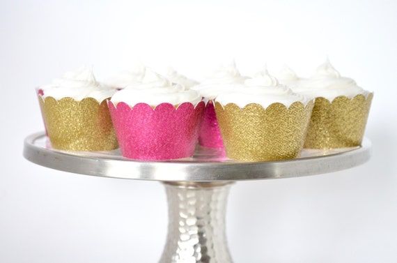 Mini Glitter Cupcake Wrapper Sets of 12, 24, 30, 40, 50, 60, etc. In your choice of Gold, Silver, Green, Red, Pink, Purple, Blue, & More!