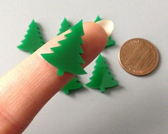 6x laser cut acrylic christmas tree/ pine tree cabochons