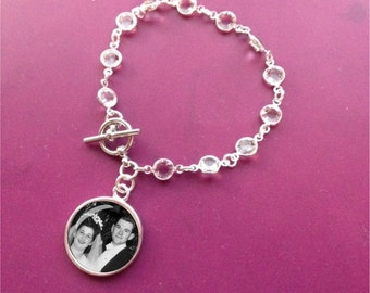 Hochzeit Armband - Braut-Schmuck - Swarovski Crystal mit Kreis-Foto-Charme - Andenken