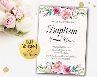 Floral Baptism Invitation, Editable Baptism Invitation, Dedication Invitation, Invitation For Girl Christening, Baptism Invitation Template