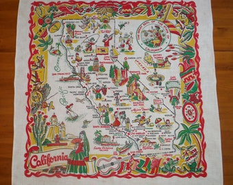 Map table cloth etsy vintage 1950s california tablecloth 50s californian state map tablecloth 1950 californian hollywood los gumiabroncs Image collections