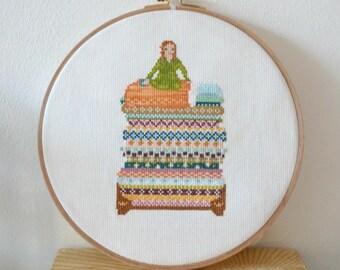 Princess and the Pea cross stitch pattern PDF